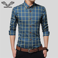 Shirt Men 2017 New Arrival Plaid Slim Thin Casual Fashion Band Clothing Business Chemise Clothing Plus Size 5XL Man Shirts N489