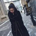 trench medium-long thickening velvet outerwear female 1227