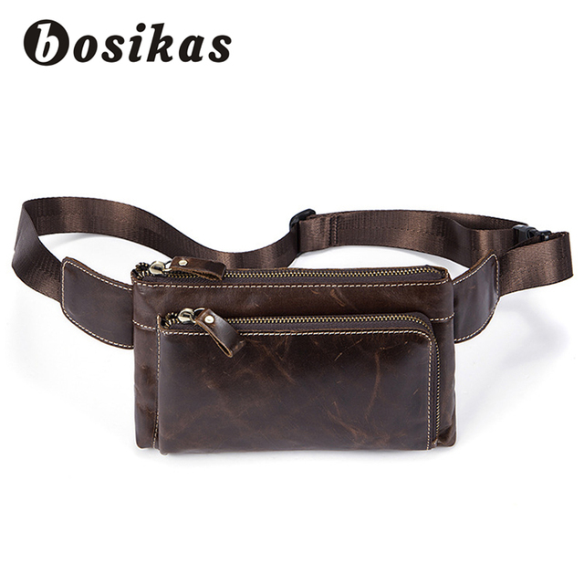 d0c2be6e0fa BOSIKAS Genuine Leather Men Waist Packs Travel Phone Chest Bags Shoulder Belt  Bag Men Vintage Money Belt Waist Bags Fanny Pack