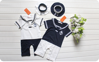Free Shipping 2016 Summer Retail Navy Style Baby Romper Suit Kids Boys Girls Rompers Hat Body