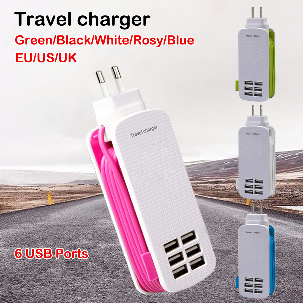 USB Charger 6-ports USB Charger Hub Wall Station Travel Adapter 5V 6A For Cellphone Compatible With Many Devices