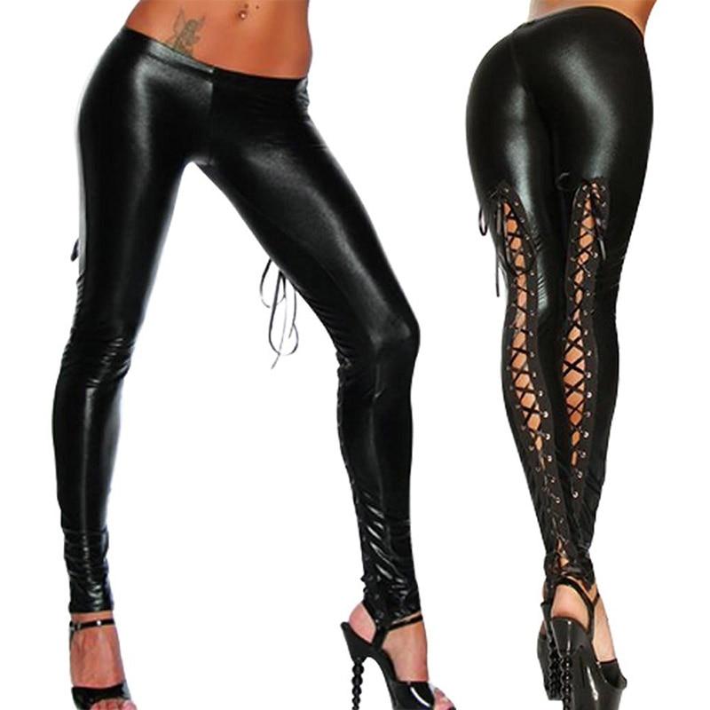 Valink 2017 Punk Leggings Women Sexy Like Lace Black Faux