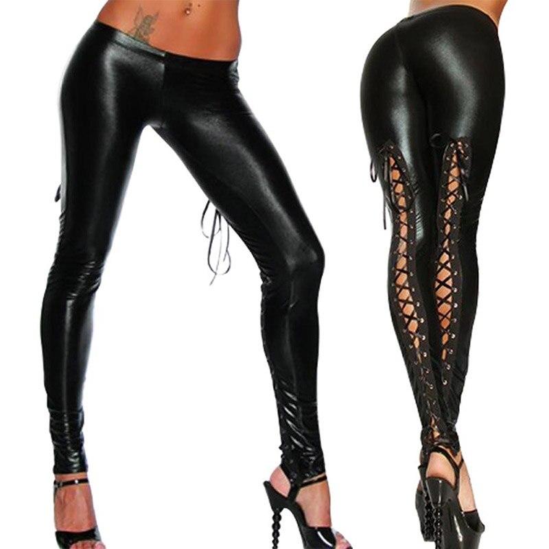Valink 2017 Punk Leggings Women Sexy Like Lace Black Faux Leather Gothic Wet Look Clubwear Latex Legging Pants Pantalones Mujer