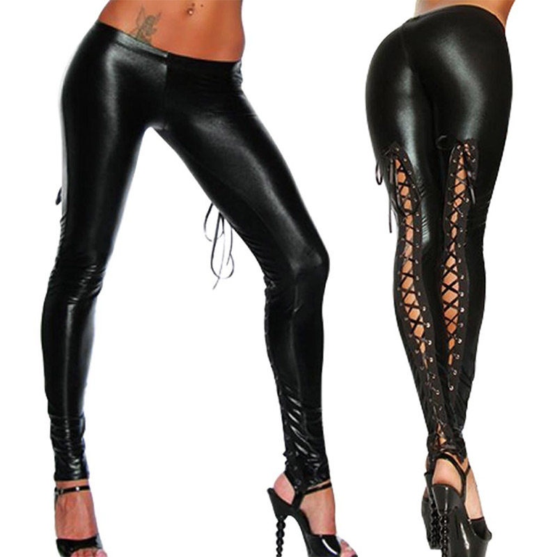 Valink 2017 Punk   Leggings   Women Sexy Like Lace Black Faux Leather Gothic Wet Look Clubwear Latex   Legging   Pants Pantalones Mujer
