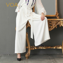 VOA Heavy Silk Long Trousers Solid White Office Wide Leg Pants Women Plus Size 5XL Mid Waist Fashion Casual Basic Formal K335