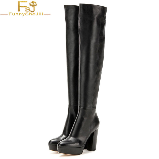 2a218df74b2 US $123.29 10% OFF|FSJ Fashion Winter Casual Dress Women Chunky Heel Over  The Knee High Black Stretch Platform Boots with Zippers Booties Woman -in  ...