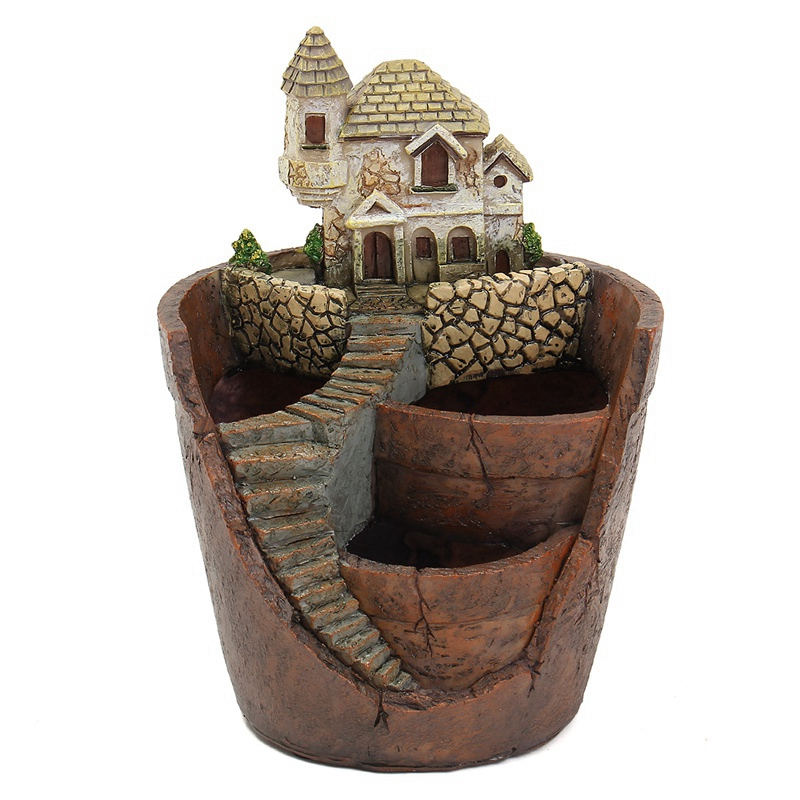 Mini House Figurines Resin Flower Pot For Herb Cacti Succulent Plants Planter Home Garden  Micro-  Landscape Decor Crafts
