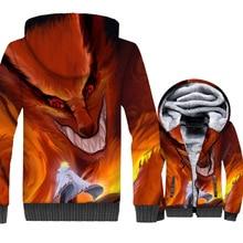 2018 winer sportswear coats 3D Print Uzumaki Naruto jackets for men thicken wool liner hooded harajuku Japanese Anime tracksuits