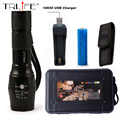 LED CREE XM-L2 T6 Flashlight 6000 Lumens Torch 5 modes Light Zoomable Tactical Flashlight Lamp + 18650 Battery  + USB Charger