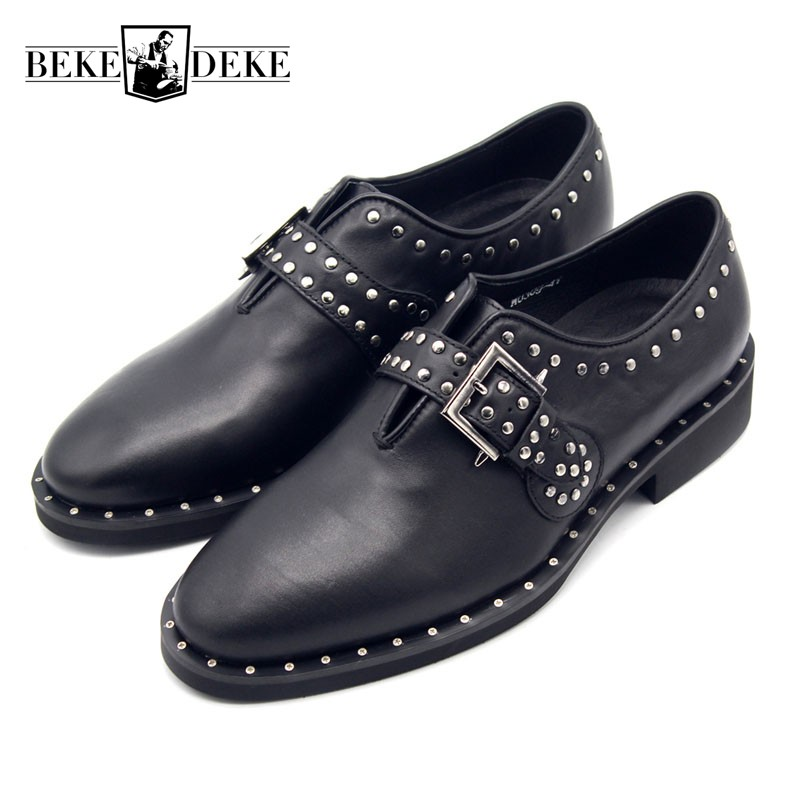 2019 New Fashion Vintage Rivet Men Formal Social Shoes Genuine Leather High Quality Party Shoes Men Pointed Buckle Male Footwear2019 New Fashion Vintage Rivet Men Formal Social Shoes Genuine Leather High Quality Party Shoes Men Pointed Buckle Male Footwear