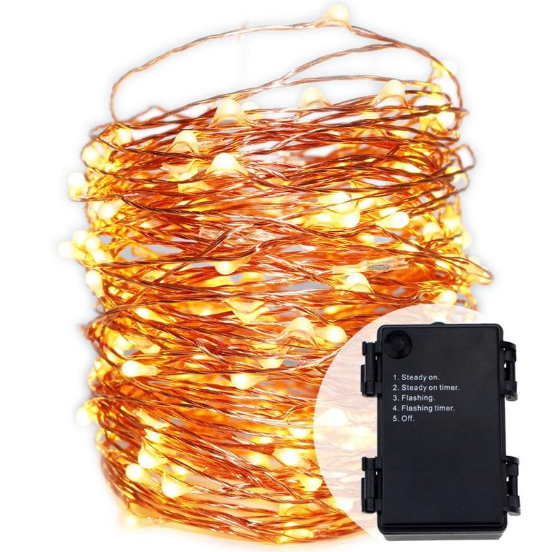 20M 200LED Veekindel 6AA patarei Fairy Lights Flash Timer Kodu Pidu aed Valgus Weddinng Jõulud LED-tuled Dekoratsioon