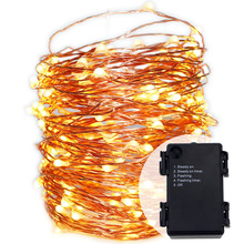 Waterproof 6AA battery operated 5Modes Timed Flash string lights 66ft 20meters LED Copper wire fairy lights for home Xmas party