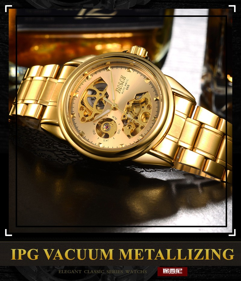 Men's Watches Automatic Mechanical Gold Watch Male Skeleton Dial Waterproof Stainless Steel Band Bosck Sports Watches Self Wind