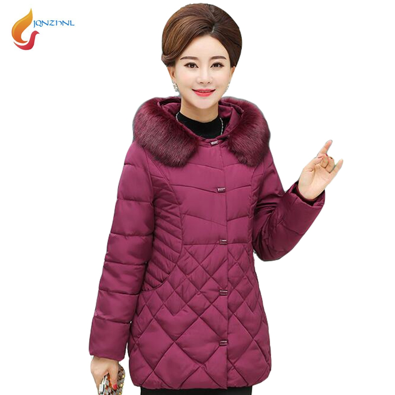 JQNZHNL Winter Warm Coats Women 2018 New Female Down Cotton Jacket Coats Big Fur Hooded Slim Thicken Cotton Coats Outerwear L814 2016 winter jacket women down coat fur hooded vest down coats vest pant underwear women s suit thicken set outerwear trousers