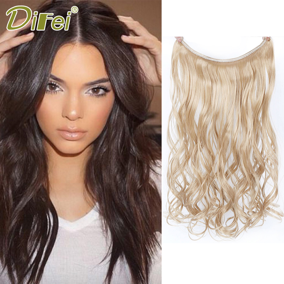 DIFEI 22 Inch Invisible Wire No Clips in Hair Extensions Long Wavy Hair Synthetic High Temperature Fiber Hair Extensions ...