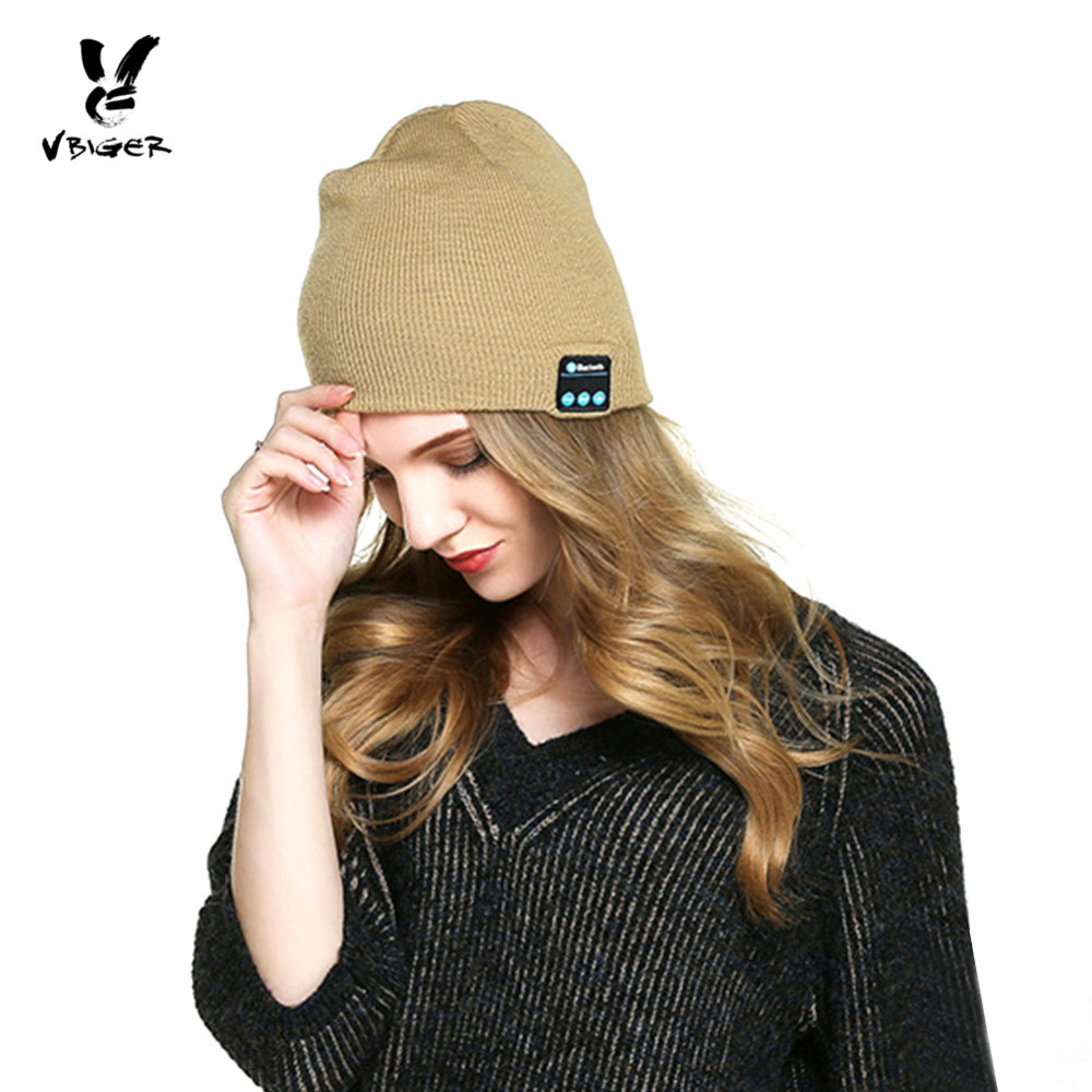 VBIGER Women Wireless Bluetooth Knit Smart Cap Hat Skullies Beanies Rechargeable Winter Hat Cap with Handsfree Stereo Earphone free shipping fashion cool striped wireless bluetooth music knit hat with handsfree smart cap headset top quality