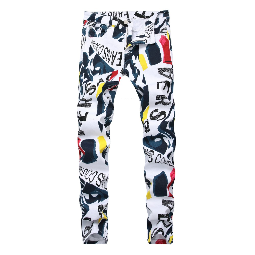 SHABIQI Brand 2019 New Men's Fashion   Jeans   Men's White Print Stretch Casual   Jeans   Slim Men's Trousers Large Size 40 42