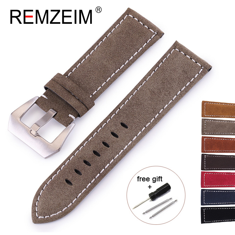REMZEIM 18mm 20mm 22mm 24mm Matte Leather Watch Band Men Women Stainless Steel Buckle Strap Relogio Pulseira Bracelet Montre
