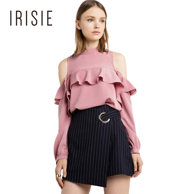 fedd378c2b507c IRISIE Apparel Ruffle Cold Shoulder Women Blouse Shirt Pink Casual Slim  Frill Chic Blusas Sexy Sweet Preppy Basic Female Blouse