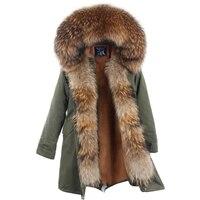 Новое поступление меховая парка 2018 брендовая Длинная женская зимняя куртка из натурального меха енота роскошный большой съемный воротник