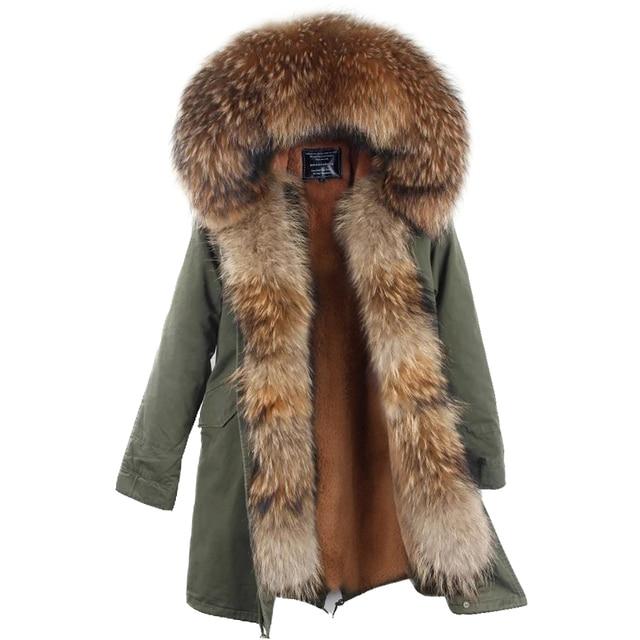 New Arrival Fur Parka 2017 Brand Long Women Winter Coat Real Raccoon Fur Jacket Luxury Large Detachable Collar Parka Femme