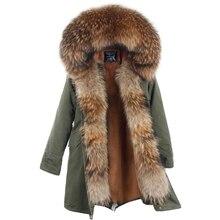 Новое поступление меховая парка 2018 брендовая Длинная женская зимняя куртка из натурального меха енота роскошный большой съемный воротник парка Femme