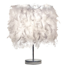 Vintage Night Light Soft White Feather Shade Metal Lamp