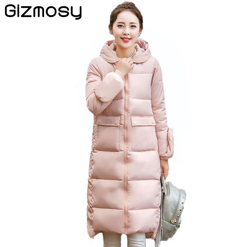 1 PC New Winter Jacket Women Warm Fur Collar Hooded Jackets Female Thicken Winter Coat Long Cotton-Padded Parka Outwear BN1633 quilted jacket male mid long parka new winter thicken warm hooded fur collar cotton padded coat men s snow jackets windproof