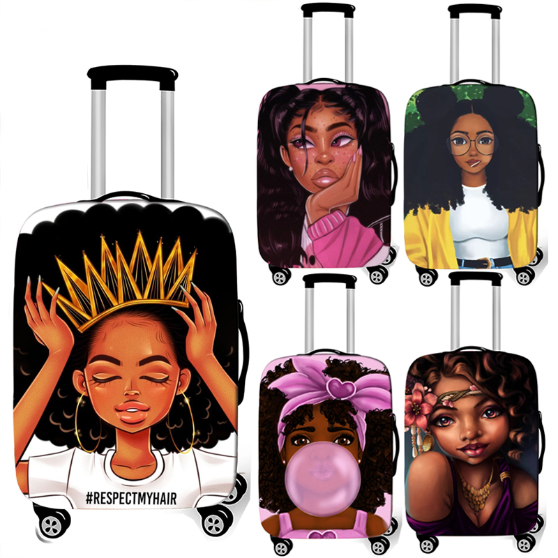 Afro Lady Girl Print Luggage Cover Brown Women / Africa Beauty Princess Suitcase Covers Elastic Travel Trolley Case Cover