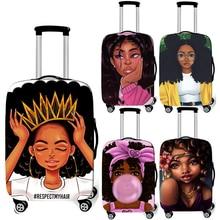 Чехол для багажа с принтом афро-леди, девушки, Коричневый женский/Африканский красивый чехол для принцессы, эластичный чехол для путешествий на колесиках