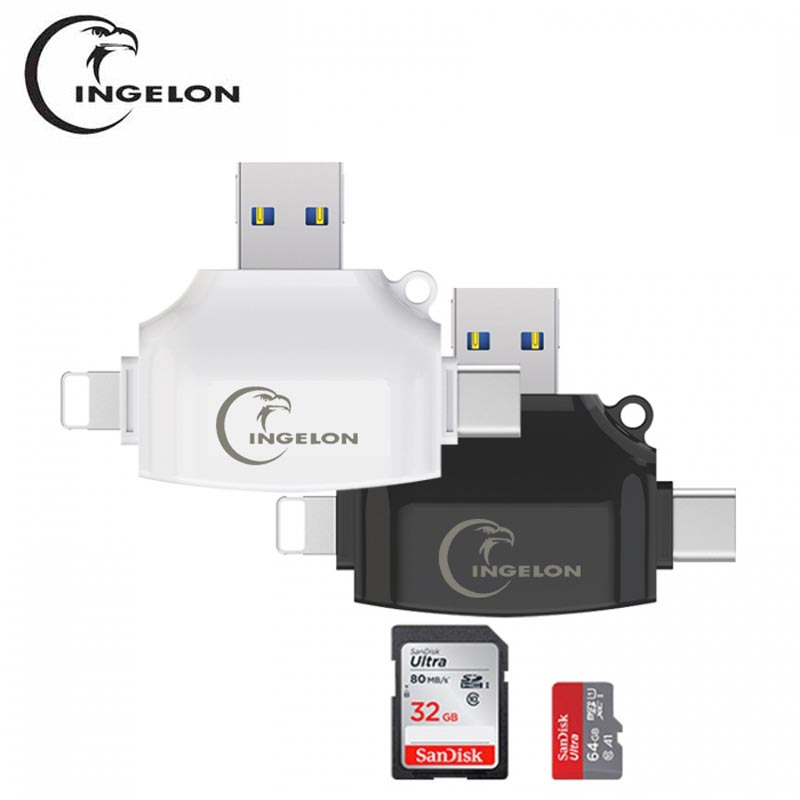 Ingelon USB SD Card Reader Sd Micro SD Reader Adapter Lightning Usb Otg Cardreader Type C For Adaptateur Iphone Smartcard Reader
