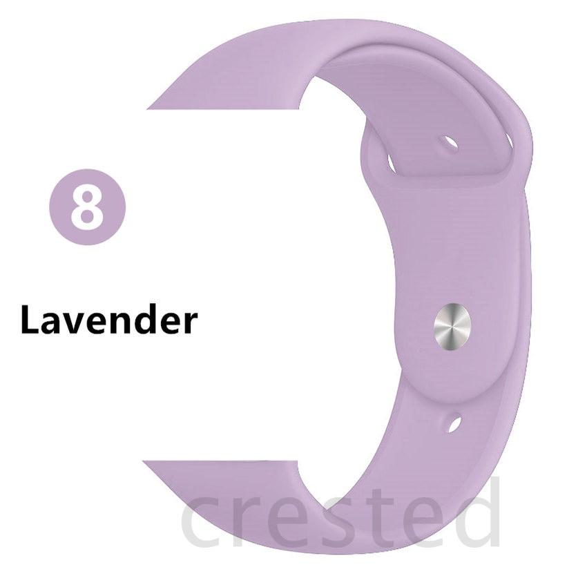 Силиконовый ремешок для apple watch 4 5 44 мм/40 мм спортивный ремешки для apple watch 3 42 мм/38 мм резиновый ремень браслет ремешок для часов apple watch Band Мягкий красочный ремешок iwatch series 4 3 2 1 - Цвет ремешка: Lavender