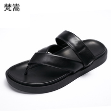 European station summer thick bottom cowhide Genuine Leather flip-flops fender men genuine leather slippers beach shoes