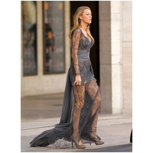 Blake Lively Serena Grey Beaded Lace Prom Dress Gossip