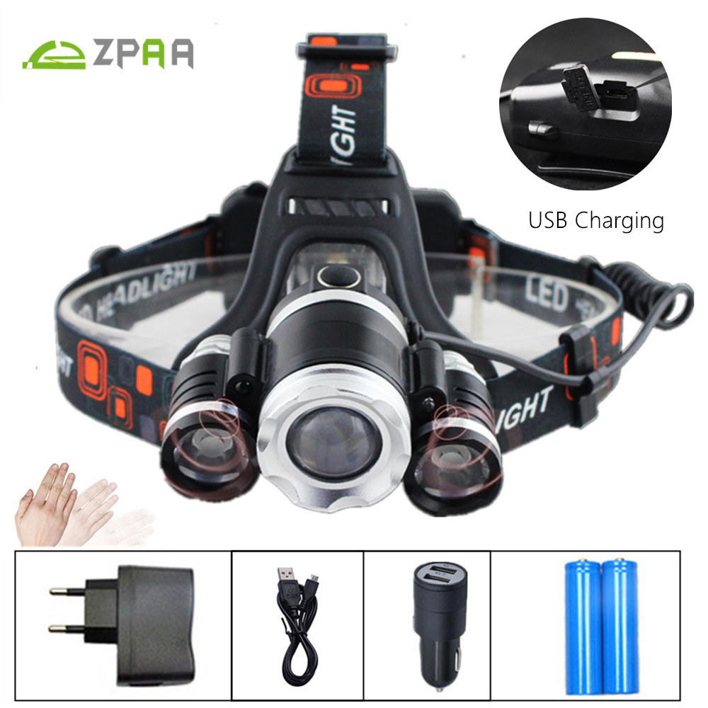 10000LM Induction IR Sensor LED Headlamp Headlight CREE T6 LED USB Lantern Head Torch Flashlight for Hunting Camping Fishing