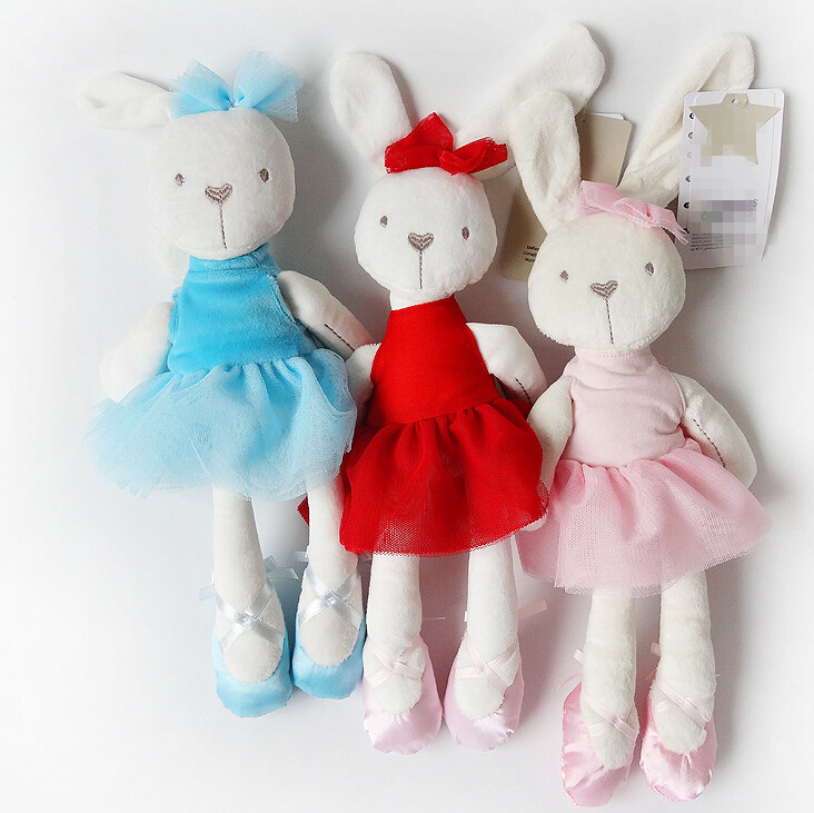 все цены на  5color 42cm cute kids Plush Rabbit Toys Animals Soft Stuffed Dolls Cartoon TV & Movie Toy Educational For Girls  онлайн