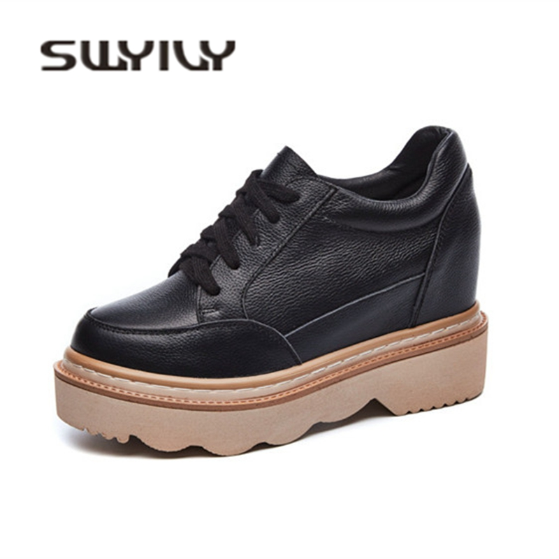 SWYIVY Women's Autumn Sneakers Platform 2018 Genuine Leather Cow Hide Casual Shoes Wedge Comfortable Lady Girl Sneakers White popular white cattle hide zip womens sneakers