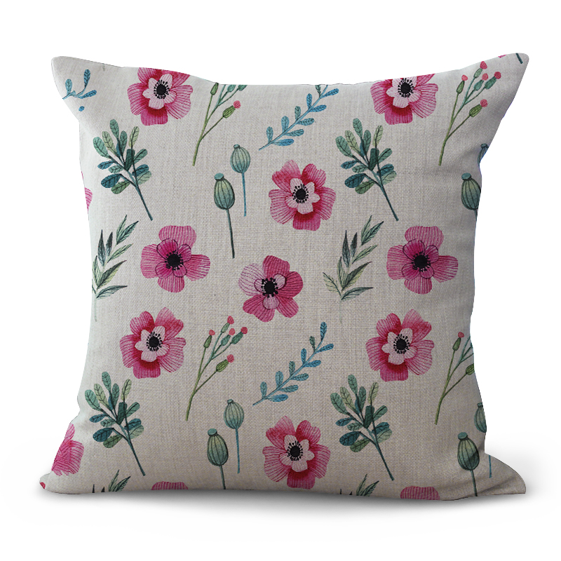 2017 Single-sided Printing New Square Linen Farmhouse Style Flower Grass Home Car Sofa Pillow Cushion Cover 100g Decorative Gift