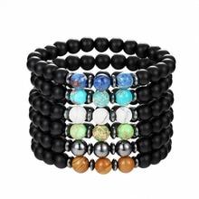 Натуральный камень браслет жемчуг черный lava БРАСЛЕТ упругой линии очарование натурального камня браслет обувь для мужчин и женщин yoga
