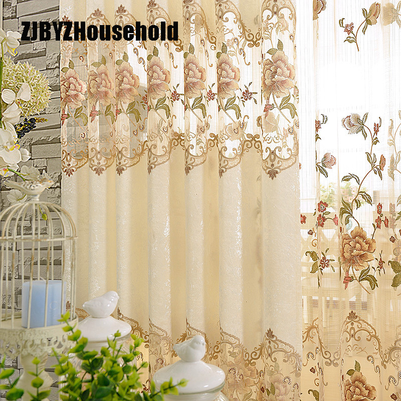 European Style Rice White Velvet Embroidered Cloth Curtain For Living Dining Room Bedroom