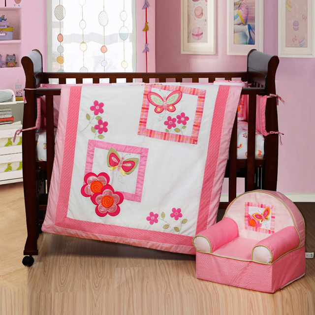 4PCS Embroidery Crib Bedding And Cot Set,Baby Bedding Sets,include(bumper+