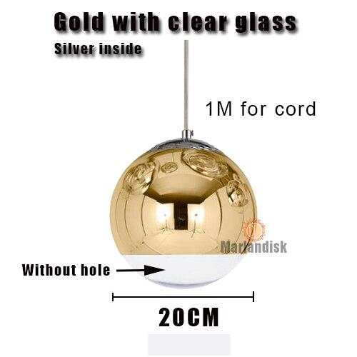 Привлекательный медный/серебристый стеклянный абажур серебристый внутри зеркальный подвесной светильник E27 светодиодный подвесной светильник стеклянный шар лампы для гостиной(DH-50 - Цвет корпуса: 20CM Gold
