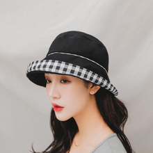 SUOGRY Bucket Hat Women Cotton Plaid Black Hats For Woman Lady Fishing Female Summer Sun Casual Sunshade New
