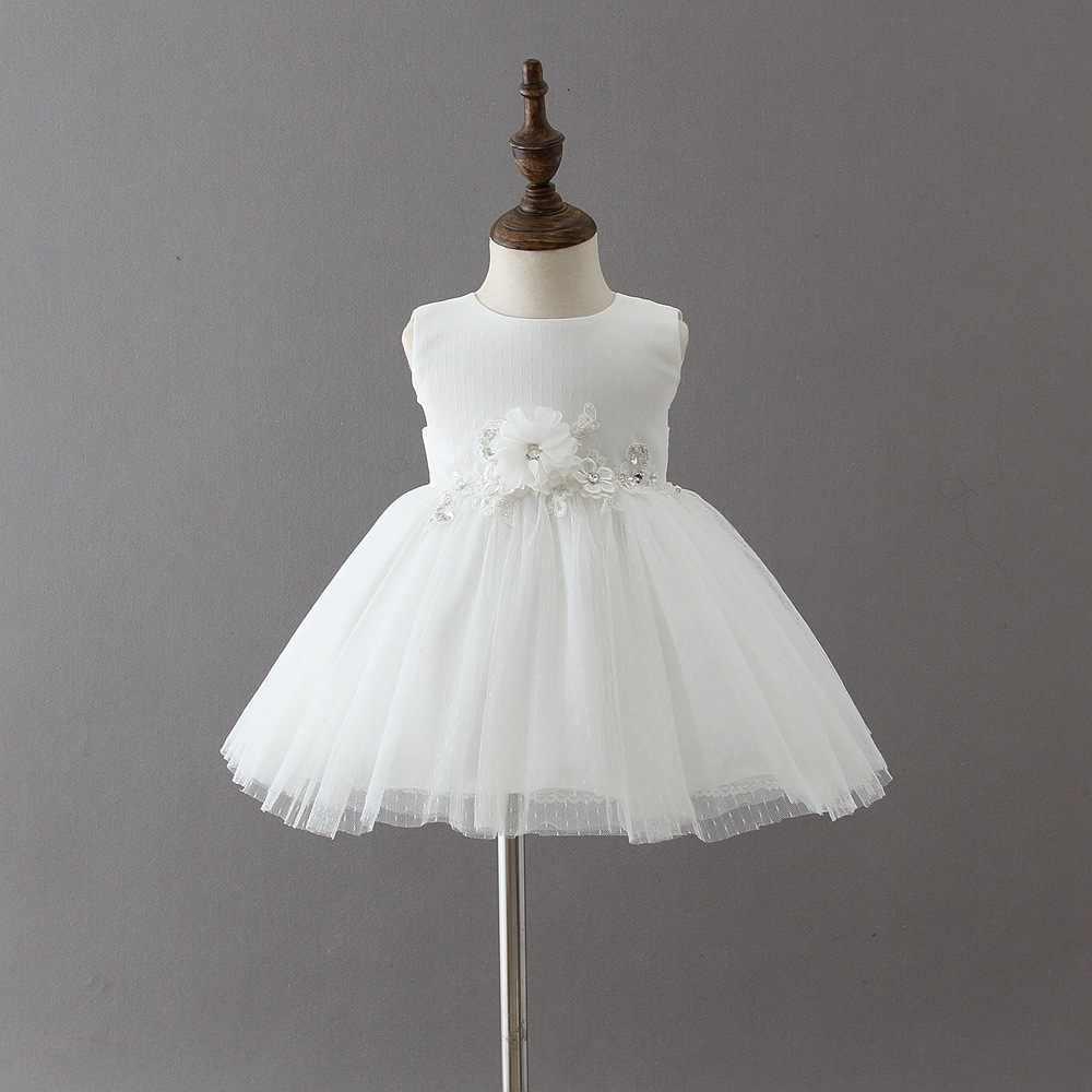 Новорожденный ребенок 1 год 1st платье на день рождения для детей для маленьких девочек платье принцессы с цветочным рисунком, крестильное платьице для малышей платье на крестины для малышей Детское бальное платье