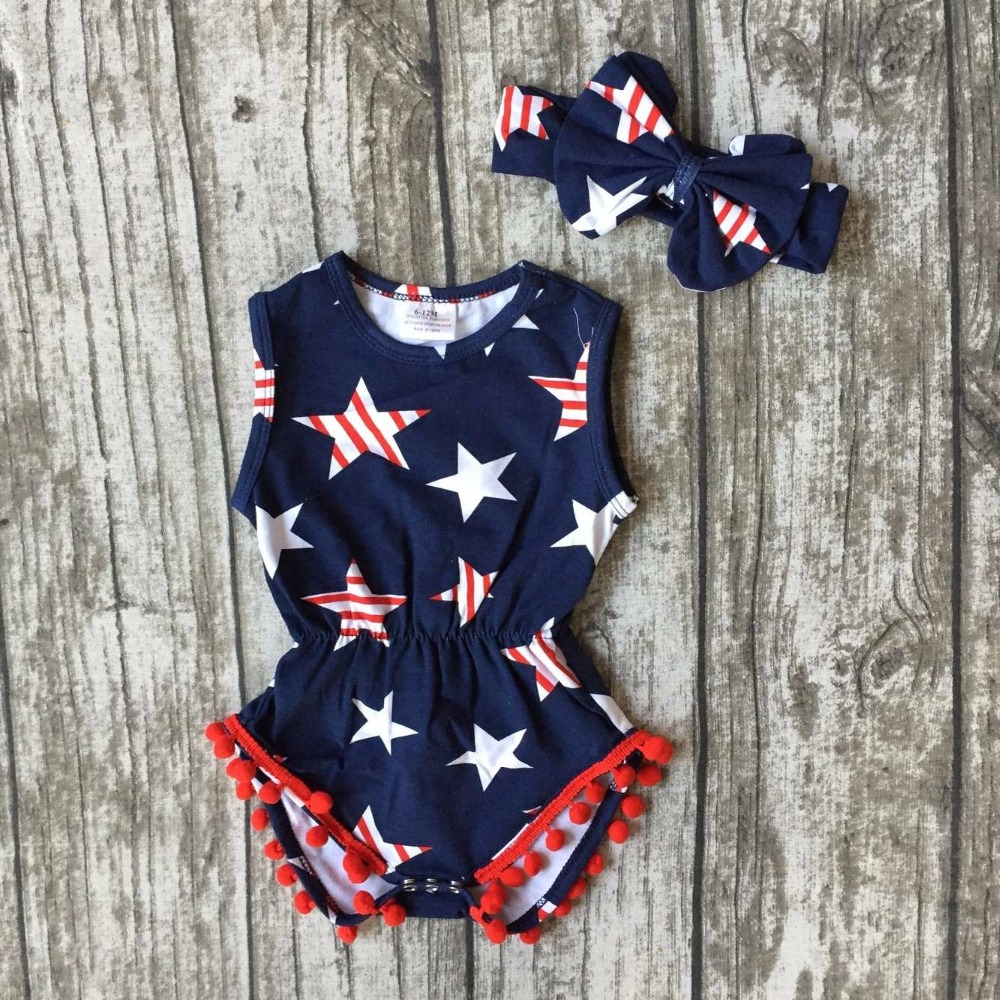 baby girls Summer clothing infant baby girls romper navy tutu cotton baby all star romper girls July 4th romper match headband all summer long