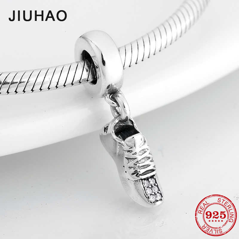 Fashion Sparkling CZ Sneakers 925 Sterling Silver Pendants Charms for jewelry making Fit Original Pandora  Bracelet Necklace