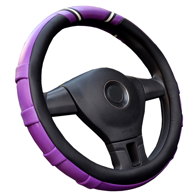 Car interior accessory fashion gold purple white multiple colour Automotive Steering Wheel Cover Micro Fiber Leather Protection