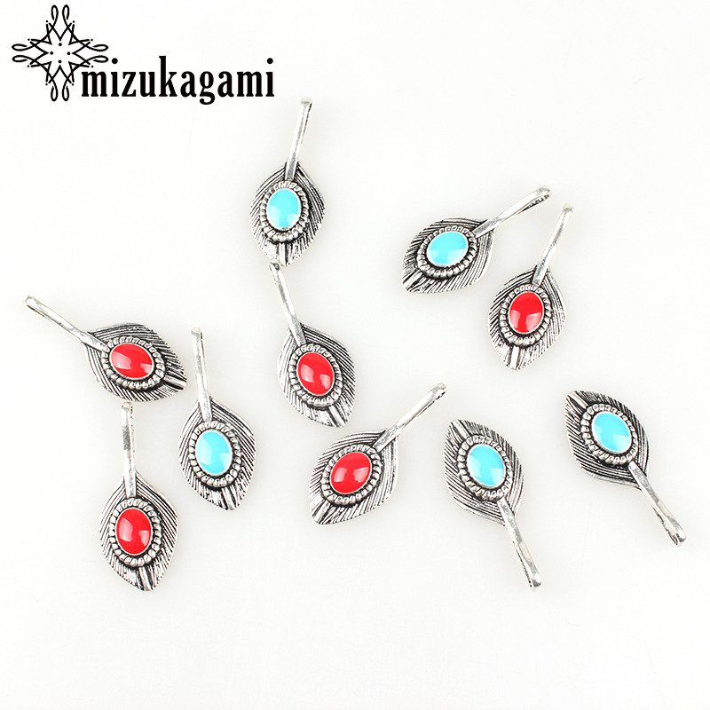 8 unids / lote 35 * 15 MM Big Hole Retro Zinc Silver Alloy Peacock Feather encantos para DIY accesorios de joyería envío gratis
