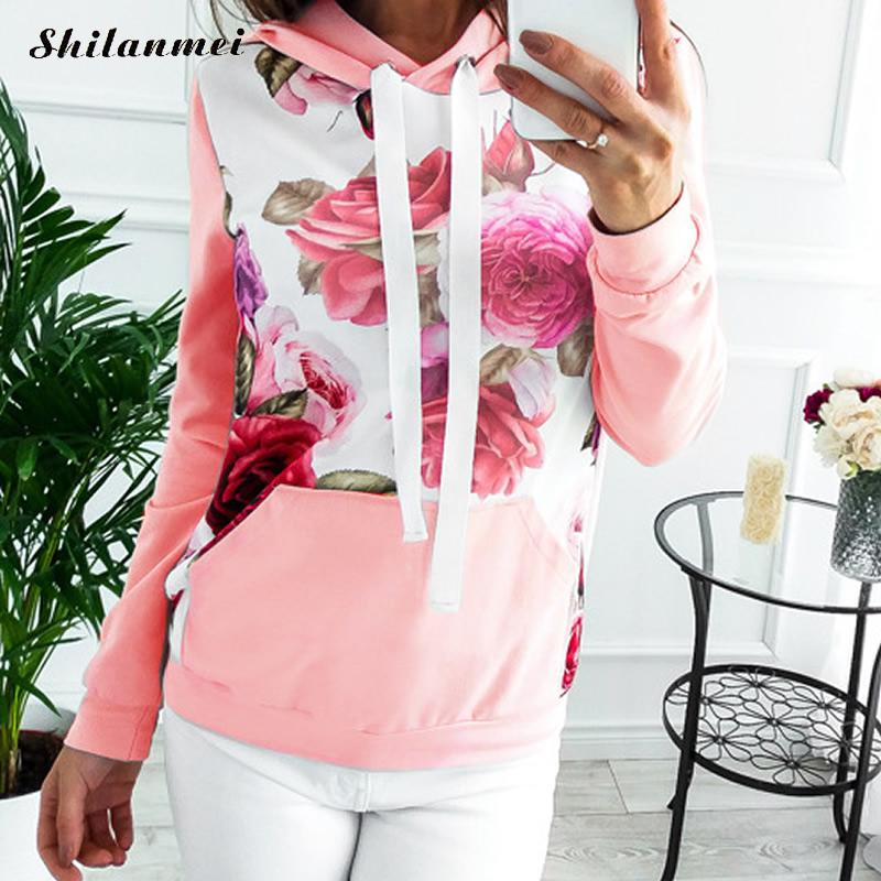 New Winter Fashion Women Floral Print Autumn Spring Jumper Women Long Sleeve Top Hoodies pink Sweatshirts Hooded Outerwear 2
