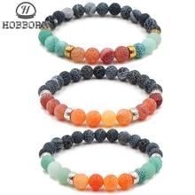 HOBBORN Classic 8mm Natural Stone Chakra Bracelet Weathered Onxy Healing Reiki Prayer Balance Women Men Bracelets Pulsera Cruz